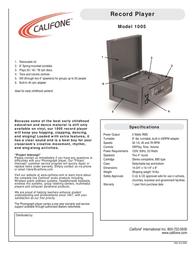 Califone 1005 Leaflet