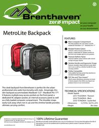 Brenthaven MetroLite BP ScarLet Red 2253101 Leaflet