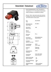 Kalthoff Hot wire connector Socket, right angle Total number of pins: 2 16 A Black, Red 344004 1 pc(s) 344004 Data Sheet
