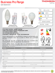 Thomson Lighting E14 Business Pro 4W THOM62542-BPC4 Leaflet