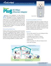 Actiontec MegaPlug 85Mbps Ethernet & Wireless HLS08500-01KE Leaflet