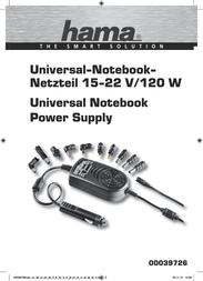 Hama Notebook Power Supply 120 W 39726 Data Sheet