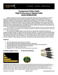GoldX PlusSeries® Hi-Def Component Video Cable Kit W/ Premium Connector 6' GXAV-RGBLR-06-P Leaflet