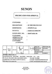 SUNON CY 410 EB40101S2-0000-999 Data Sheet