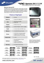 Shuttle Gaming G4 8500G G4 8500G Leaflet