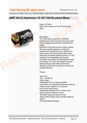 YeahRacing MT-0014 Leaflet