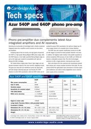Cambridge Audio Azur 640P C8095 Leaflet