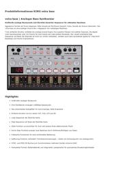 Korg Volca Bass VOLCABASS Data Sheet