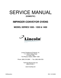 Lincoln IMPINGER CONVEYOR OVENS 1000 User Manual