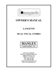 Manley Labs Dual Vocal Combo User Manual