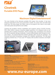 New Universe Mobile DVD player – WDR041 Pro 9WDR041C200S Leaflet