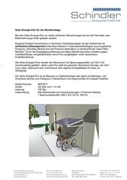 Schindler Alusystemtechnik SOLAR-ENERGIE-PORT WANDMONTAGE SEP3017 SEP3017 Data Sheet