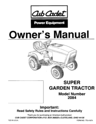 Cub Cadet 2084 User Manual