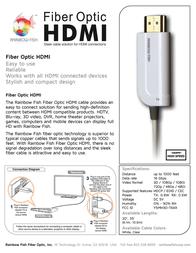 Rainbow Fish Fiber Optic HDMI 35' H3D-TR035F Leaflet