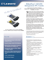 Linksys EtherFast® 10/100 Integrated PC Card PCM100-EU Leaflet