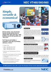 NEC MultiSync VT560 50022922 Leaflet