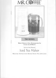 Mr. Coffee TM3-2 User Manual