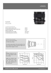Hasselblad Planar FE 2/110 Leaflet