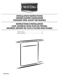 Maytag MDB8959AWS Installation Instruction
