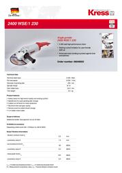 Kress 2400 WSE/1 230 06046503 Leaflet