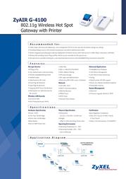 ZyXEL ZyAIR G-4100 802.11g Wireless Hot Spot Gateway with Printer 110201.4100 Leaflet