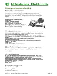 Uhlenbrock 55520 FRU for DC locomotives 55520 Data Sheet