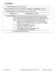 Planar Triple Monitor Stand 997-6035-00 Leaflet