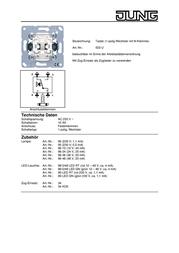 JUNG Insert Switch LS 990, AS 500, CD 500, LS design, LS plus, FD design, A 500, A plus, A creation, CD plus, SL 500 5 533U Data Sheet