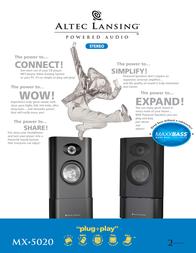 Altec Lansing MX5020 2.0 powered audio system MX5020E Leaflet