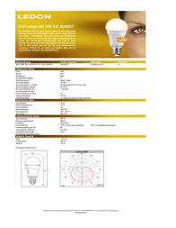 Ledon LED (monochrome) 230 V E27 10 W = 50 W Warm white ATT.CALC.EEK: A Pear shape dimmable Content 1 pc(s) 28000012 Data Sheet
