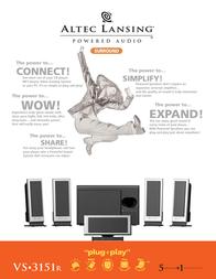 Altec Lansing VS3151R 6-speaker Powerful Bass system VS3151RE Leaflet