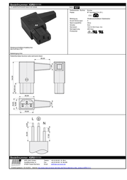 K B IEC connector C13 Socket, right angle Total number of pins: 3 10 A Black K & B 43R011111 1 pc(s) 43R011111 Data Sheet