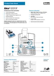 Ibico Calculator 1231X IB1231X Product Datasheet