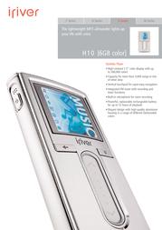 iRiver H10 hard disc color slate gray 6 Gb 3H105X-EUSRE2 Leaflet