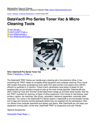 Metropolitan Vacuum Cleaner Company MDV-3TCA User Manual