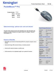Acco Pocketmouse Pro Optical 2Btn USB 72116 Leaflet