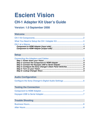 Escient Adapter Kit CH-1 User Manual