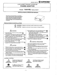 Aiphone YAW-RB User Manual