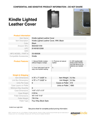 Amazon Lighted Leather Cover B004SD1XNI Leaflet