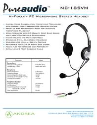 Andrea Electronics NC-185 VM C1-1022500-50 Leaflet