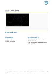 Vzug GK36TIPS 975337 Data Sheet