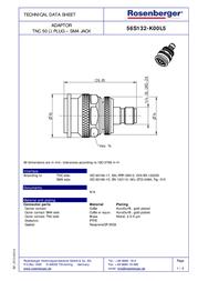 Rosenberger TNC adapter TNC plug - SMA socket 56S132-K00L5 1 pc(s) 192179 Data Sheet