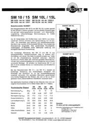 """Sunset Monocrystalline solar panel 10 Wp 17.3 V SOLARMODUL """"SM 10"""" 10000 Data Sheet"""