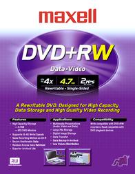Maxell DVD+RW 4.7GB 4x Cakebox 25pk 275894 Leaflet