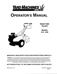 Yard Machines 422 User Manual