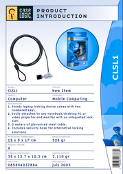 Case Logic Laptop Security Lock CLSL1 Leaflet