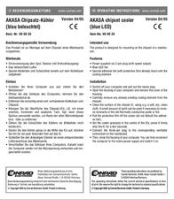 Akasa AK-210 blue chipset cooler AK-210 Data Sheet