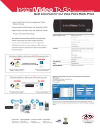 ADS Tech Instant video to-go RDX-160-EFG Leaflet