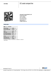 Papst 3412 NGLE 3412NGLE Data Sheet