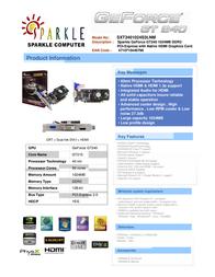 Sparkle Technology GeForce GT240 1024MB SXT2401024S3L-NM Leaflet